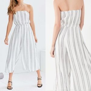UO Silence + Noise White Striped Culotte Jumpsuit
